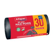 ALFAPAC Sacs poubelle d'origine végétale maxi poids 30l 30 sacs