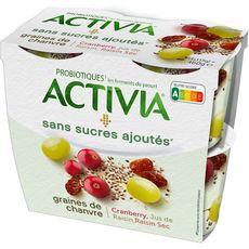 ACTIVIA Activia Yaourt au bifidus graines de chanvre cranberry raisin 4x115g 4x115g