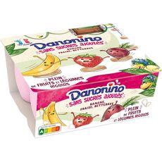 DANONINO Petits suisses banane fraise betterave 4x90g