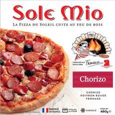 SOLE MIO Pizza chorizo poivron rouge fromage cuite au feu de bois 460g