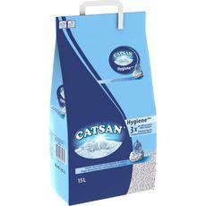 Catsan Hygiène plus litière minérale absorbante pour chat 15l