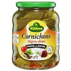 KUHNE Cornichons aigres-doux pointe de poivre en bocal 360g