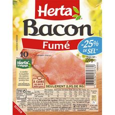 HERTA Herta Bacon fumé -25% de sel 10 tranches minimum 120g 10 tranches minimum 120g