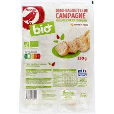 AUCHAN BIO Baguettes de campagne précuite x2 250g