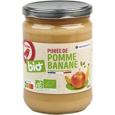 AUCHAN BIO Purée pomme banane sans sucres ajoutés bocal 580g