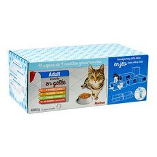 AUCHAN Adult assortiment sachets repas en gelée pour chat 48x100g