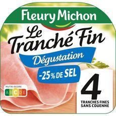FLEURY MICHON Jambon blanc dégustation -25% de sel sans couenne 4 tranches 120g