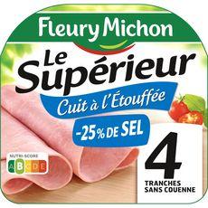 FLEURY MICHON Jambon cuit à l'étouffée -25% de sel sans couenne 4 tranches 160g