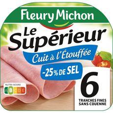 Fleury Michon Le Supérieur Jambon -25% de sel 6 tranches 180g