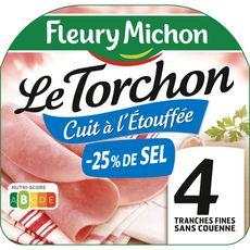 FLEURY MICHON Jambon blanc cuit à l'étouffé -25 de sel sans couenne 4 tranches 120g