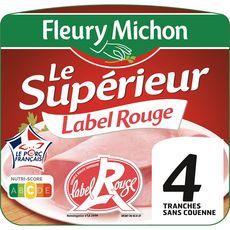 FLEURY MICHON Jambon blanc supérieur Label Rouge sans couenne 4 tranches 160g