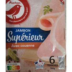 AUCHAN Jambon blanc supérieur avec couenne 6 tranches 240g