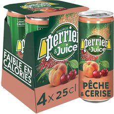 PERRIER Eau gazeuse Juice aromatisée pêche et cerise boîtes 4x25cl