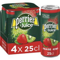PERRIER Eau gazeuse Juice aromatisée fraise kiwi boîtes 4x25cl