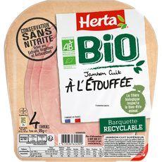 Herta Jambon cuit à l'étouffé sans nitrite bio sans couenne 4 tranches 120g