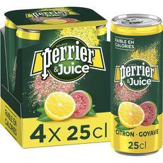 PERRIER Juice eau gazeuse aromatisée au citron et goyave boîtes 4x25cl