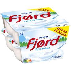 FJORD Yaourt fromage blanc nature frais et doux 8x125g