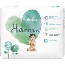 PAMPERS Harmonie couches taille 3 (6-10kg) 31 couches
