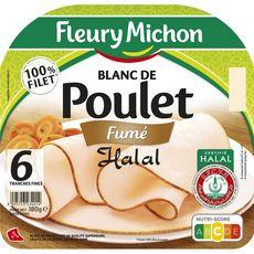 FLEURY MICHON Blanc de poulet fumé halal 6 tranches 180g