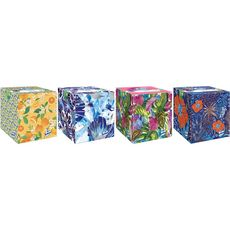 LOTUS Lotus Boîte de mouchoirs blancs cube à décor aléatoire x48 48 mouchoirs