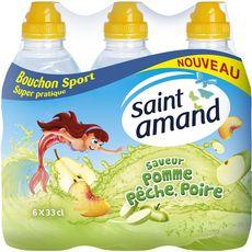 SAINT AMAND Eau plate aromatisée pomme pêche poire bouchon sport bouteilles 6x33cl