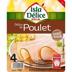 ISLA DELICE Délice de poulet halal doré au four 4 tranches 4 tranches 120g