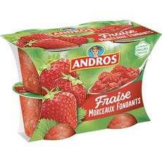 ANDROS Dessert de fruit de fraise avec morceaux 4x100g