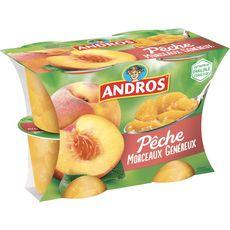 ANDROS Dessert de fruit de pêche avec morceaux 4x100g