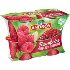 ANDROS Dessert de fruit de framboise avec morceaux 4x100g