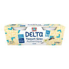 DELTA Yaourt grec authentique égoutté 0%MG à la vanille 2x150g