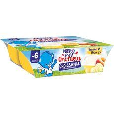 Nestlé NESTLE P'tit onctueux petit pot dessert lacté banane pêche dès 10mois