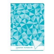 AUCHAN Cahier piqué 21x29,7cm 96 pages petits carreaux 5x5 bleu motif triangles