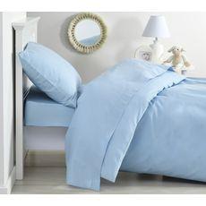 PTIT BASILE Lot de 2 taies d'oreiller bébé en coton bio 40 x 60 cm coloris unis  (Bleu ciel)