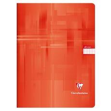 CLAIREFONTAINE Cahier piqué 24x32cm 48 pages grands carreaux Seyes rouge