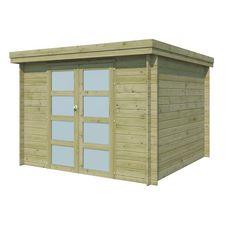 Abri jardin bois APETINA / toit plat / traité autoclave / 7.26m²