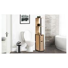 Etagère wc 2 portes NATHAN (Bois/noir)