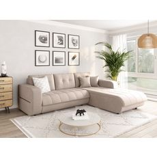Canapé d'angle droit convertible CLELIA, 4 places, tissu beige