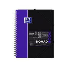 OXFORD Cahier à spirales et pochettes avec élastiques 24x32cm 160 pages petits carreaux 5x5 violet