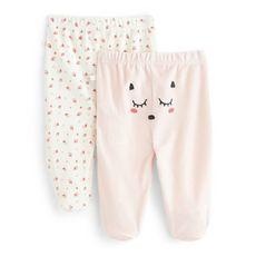 IN EXTENSO Lot de 2 pantalons de naissance à pied bébé fille (Rose corail)