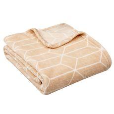 ACTUEL Plaid, couvre-lit, jeté de canapé fantaisie motifs géométriques 240 g/m² ARTY (Rose poudré / Blanc)