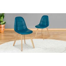 Lot de 2 chaises assise PU pieds bois massif CARLA (Bleu)