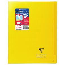CLAIREFONTAINE Cahier piqué polypro Koverbook 24x32cm 48 pages petits carreaux 5x5 jaune transparent