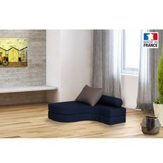 Chauffeuse banquette lit d'angle 1 place OSTO (Bleu / Taupe)