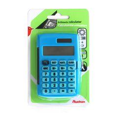 Calculatrice arithmétique affichage 8 chiffres + étui - bleu ciel