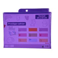 AUCHAN Protège cahiers 24x32cm à rabats cristal violet translucide