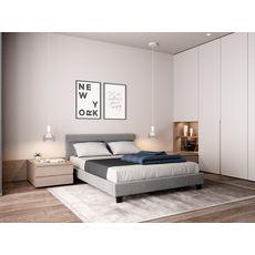 Lit revêtement tissu avec tête de lit et sommier à lattes 140x190 cm MARTIN (Gris clair)