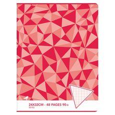 AUCHAN Cahier piqué 24x32cm 48 pages grands carreaux Seyes rouge motif triangles