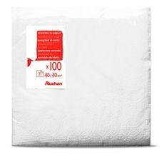ACTUEL Serviettes en papier 40x40cm blanches x20 3 plis 20 pièces