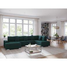 Canapé d'angle droit panoramique convertible tissu velours 5 places RECEPTION (Vert)