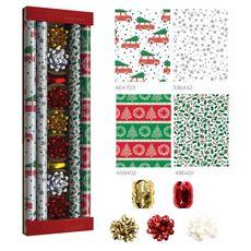 Kit papier cadeau Noël 2M + accessoires 4 pièces